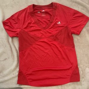 Adidas red workout top climacool